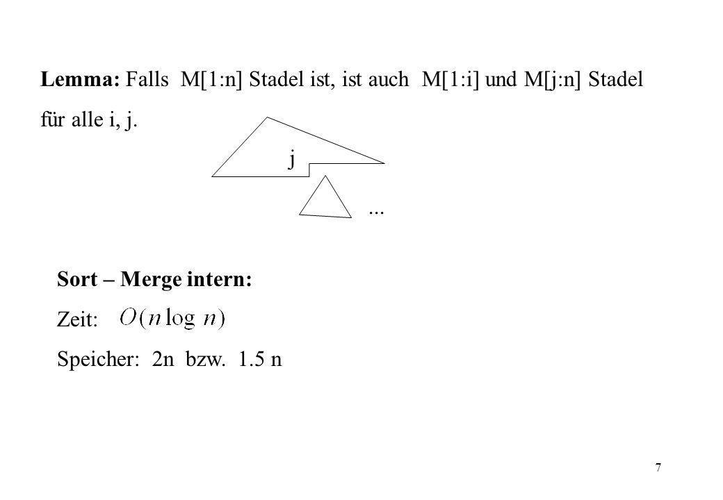 Lemma: Falls M[1:n] Stadel ist, ist auch M[1:i] und M[j:n] Stadel